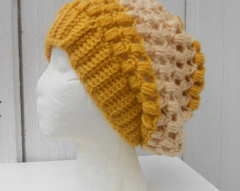 Slouch Tam Honey Yellow Bobble Beret Stripe Hat M L