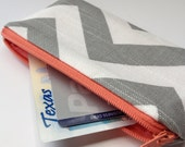Zippered Coin Purse Wallet - Fabric Business Card Holder - Grey Chevron Stripes
