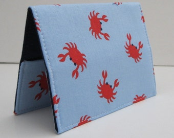 Passport Cover Case Holder Travel Cruise Holiday Vacation - Red Crabs on Spa Blue