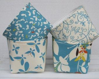 Mini Fabric Storage Container Organizer Bins - Set of 4 - Moda Chrysalis by Sanae - Turquoise and Cream