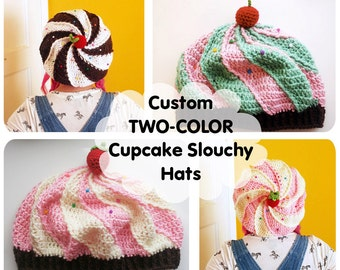 CUSTOM 2-Color Cupcake Slouchy Beret Hat - choose your own flavors - made to order