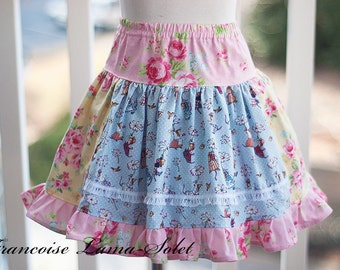 Girls skirt, Ruffled Skirt, twirl skirt, patchwork skirt, yellow pink blue, school skirt, flowers mouse Size 3T Fits also size 2T - 4T