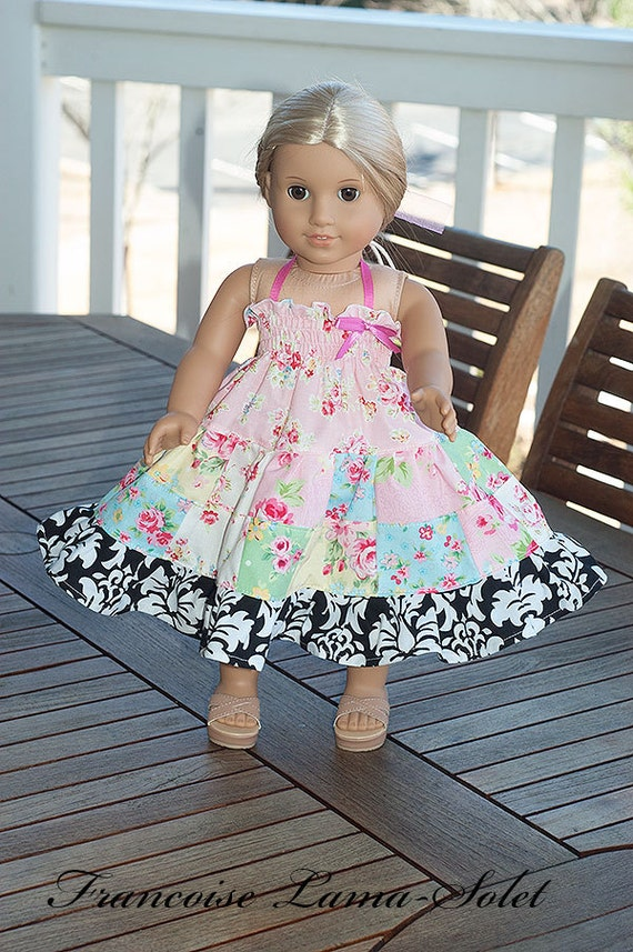 """American Girl doll clothes patchwork twirl dress 18"""" doll - Lovely Rose"""