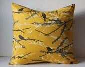 Decorative Pillows Cushion Cover - Mustard Yellow & Gray Birds - 16 x 16 Accent Throw Pillow - Baby Nursery Decor