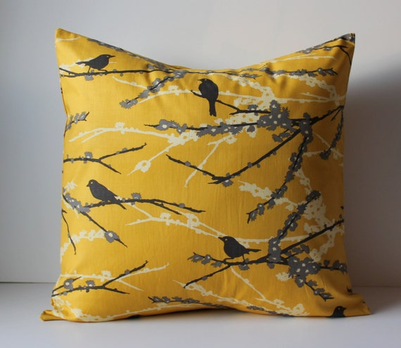 Yellow Bird Throw Pillows : Decorative Pillows Cushion Cover Mustard Yellow & Gray Birds