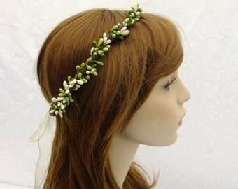 Bridal Head Piece, Bridal Crown, Green and White Circlet, Bridal Hair Wreath, Boho Crown, Bridal Circlet, Woodland Wedding