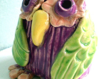 Hand sculpted Purple and Lime Green Ceramic Owl
