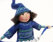 Woodland Gnome Art Doll, Hand Embroidered RESERVED FOR KIMIKO