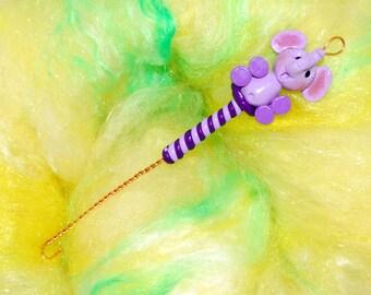 Purple Elephant Spinning Wheel Orifice Hook - Polymer Clay
