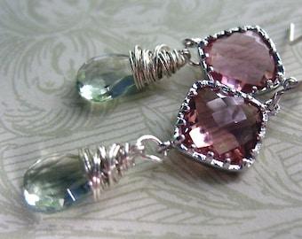 Gemstone Earrings, Cushion Cut , Wire Wrapped, Prasiolite Green Gemstone, Green Amethyst Stones, Sterling Silver Dangle Drop Earring