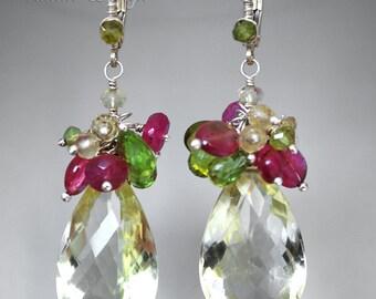 Bouquet-Fine/Sterling silver,Lemon quartz,sapphire,tourmaline,vessonite and peridot earrings