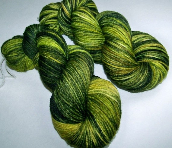Hand Painted Superwash Merino Worsted -- Zombie