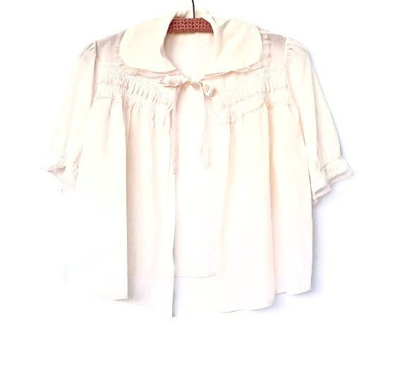 Pale Pink Cotton Bed Jacket