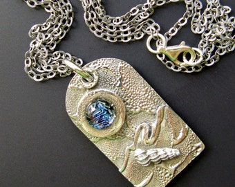 Stormy Night Fine Silver, Sterling Silver and Fused Dichroic Glass Pendant Necklace