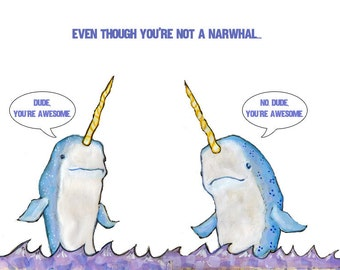 Awesome Narwhals greeting card
