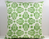 Floral Green Damask decorative throw pillow cover 18 x18 inches Accent pillow cushion sham.