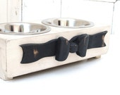 Cat Bowl Holder Small Dog Feeding Stand Wood Ribbon Bow Painted Pet Furniture Cottage Beach Antique White Custom