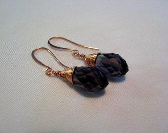 Amethyst Purple Crystal Copper Wire Wrapped Earrings