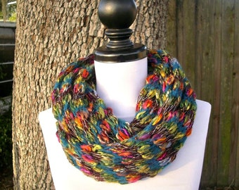 Rainbow Scarf Circle Scarf Infinity Scarf Knit Cowl - Infinity Cowl Kaleidoscope Multicolor Rainbow Cowl Womens Accessories - READY TO SHIP