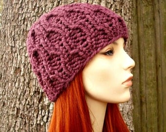 Knit Hat Womens Hat - Amsterdam Beanie in Fig Purple Knit Hat - Purple Hat Purple Beanie Womens Accessories Winter Hat