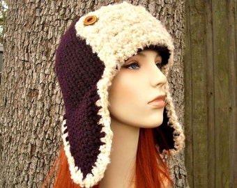 Knit Hat Womens Hat - Ear Flap Hat Trapper Hat Aviator Hat in Eggplant Purple and Cream Shearling - Purple Hat Womens Accessories Winter Hat