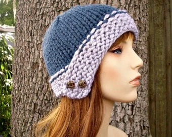 Knit Hat Womens Hat - Cloche Hat in Heather Grey and Denim Blue Knit Hat - Blue Hat Grey Hat Womens Accessories Winter Hat