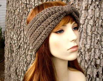 Womens Crochet Headband Earwarmer - Crochet Turban Headband in Taupe - Womens Hair Accessories - Womens Accessories