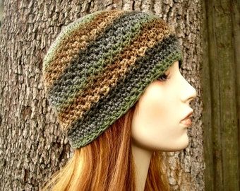 Crochet Hat Womens Hat - Chesapeake Beanie in Into Woods Brown Green Grey Crochet Hat - Womens Accessories Winter Hat