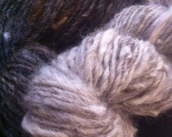 OOAK set of 2 skeins IRON and STEEL gray mix natural single ply Art Yarns 188 yards alpaca