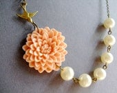 Peach Flower Necklace,Floral Necklace,Ivory Pearl Necklace,Ivory Necklace,Bridesmaid Necklace,Wedding Necklace,Bridesmaid Jewelry Set,Gift