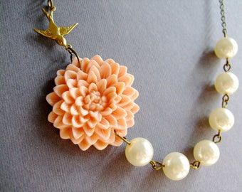 Wedding Necklace Bridal Jewelry Bridesmaid Necklace Peach Necklace Flower Necklace Ivory Necklace Pearl Necklace Gift For Her