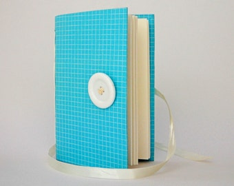 Journal for writing, journal diary, for memories, thoughts, personal journal, lined paper, hand bound, teal white, pregnancy journal