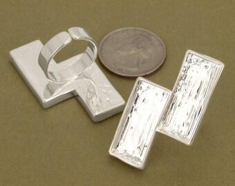10pcs 24x40.5mm lightning silver whitePewter blank bezel rectangle Pendant Tray ring
