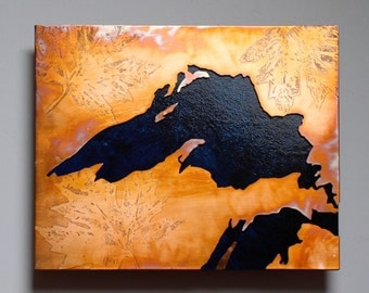 Copper Metal Map Art of Lake Superior 8x10 inch