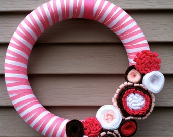 Baby Shower - Baby Room Wreath - Valentine's Day Wreath - Felt Flower Wreath - It's A Girl Wreath - Valentine's Day Decoration - Baby Gift