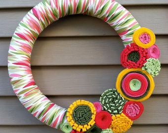 Spring Wreath - Easter Wreath - Felt Flower Wreath - Summer Wreath - Mother's Day Wreath - Felt Wreath - Tropical Wreath - Felt Flowers