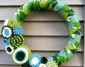 Spring Wreath - Patterned Fabric Decorated with Felt Flowers. Fall Wreath - Spring Wreath - Fabric Wreath - Felt Flower Wreath