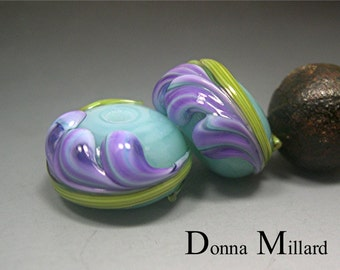 HANDMADE LAMPWORK BEADS Earrings Pair Donna Millard sra Spring Fresia purple orchid aqua green lily flower earring