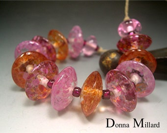 HANDMADE LAMPWORK Glass Beads SET Donna Millard sra disc beads orange rose pink lamp work spring garden