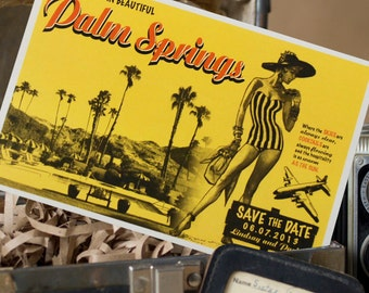 Vintage Poster Art Postcard Save the Date (Palm Springs, California) - Design Fee