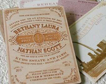 Vintage Wood Engraved Typography Wedding Invitation - Design Fee