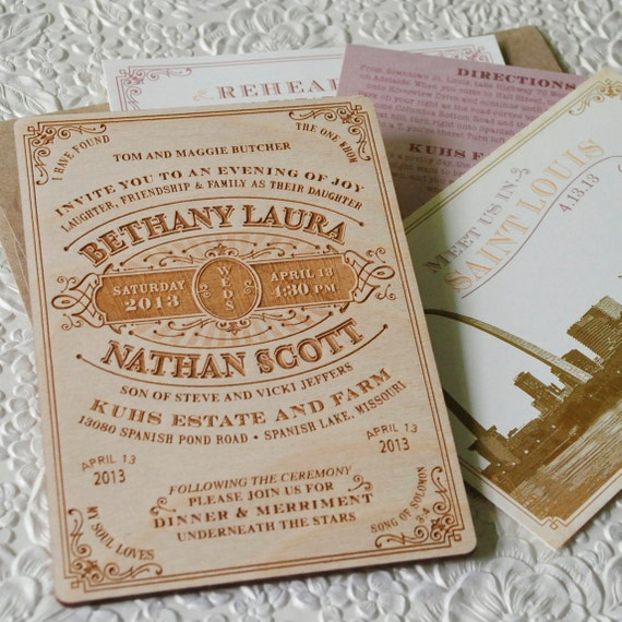 Rustic Wedding Invitation Fonts: Vintage Wood Engraved Typography Wedding Invitation Design
