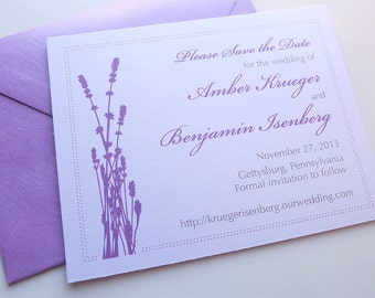 Lavender Silhouette Save the Date Cards