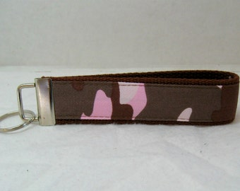 Camouflage Key Fob BROWN Pink Key Chain Wristlet Key Fob