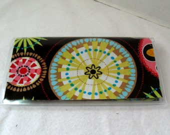 Checkbook Cover - Carnival Bloom Cash Holder - Floral Checkbook Holder - Works with Duplicate Checks