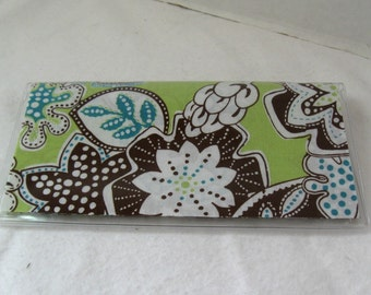 Checkbook Cover Floral Turquoise Lime Cash Holder Works with Duplicate Checks