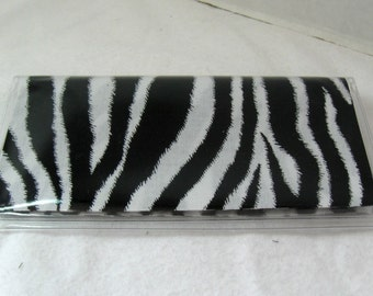 Checkbook Cover Zebra Black White Cash Holder Works with Duplicate Checks