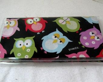 Checkbook Cover Owls - Owl Cash Holder -Sleepy Owls Checkbook Holder - Works with Duplicate Checks