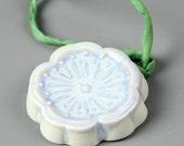 Pale Porcelain Cherry Blossom Ceramic Necklace