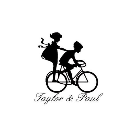 kinder auf fahrrad hochzeit benutzerdefinierte stempel fahrrad. Black Bedroom Furniture Sets. Home Design Ideas